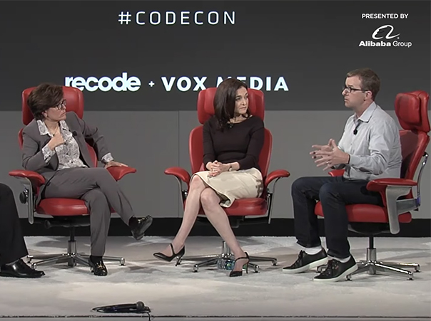Facebook CTO Mike Schroepfer and COO Sheryl Sandberg speak with Kara Swisher