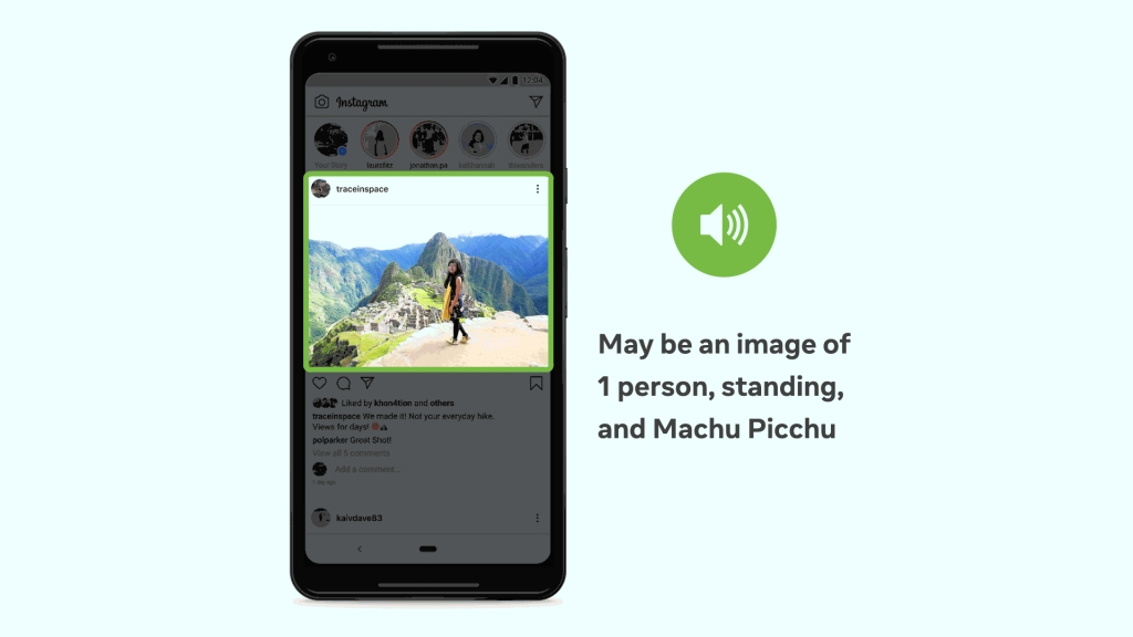 "An image depicting how a screen reader and our Automatic Alt Text tech would identify a woman standing at Machu Picchu. ""May be an image of 1 person, standing, and Machu Picchu."""