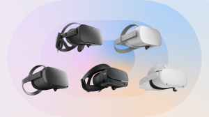 Image of the five existing Oculus headsets as of March 2021 — Rift, Go, Quest, Rift S, and Quest 2.